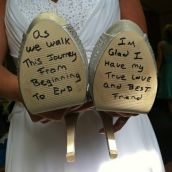 weddingdaypin com grrom writes on shoes